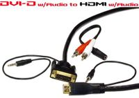 HDMI to DVI with 2nd Separate Audio Cable - 6  sizes to choose from