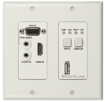 Intelix DL-1H1V1U-WP-W Two Gang HDBaseT 2.0 transmitter wall plate
