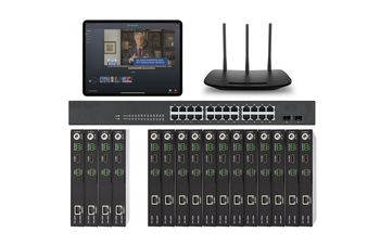 POE 4x12 HDMI Over IP Matrix Switcher w/iPad Real Time Video Preview