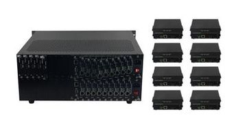 See 40-Different Seamless HDMI Matrix Switchers w/HDMI & HDMI over CAT5 HDBaseT Cards/Receivers & 100ms Switching in 18x18 Chassis