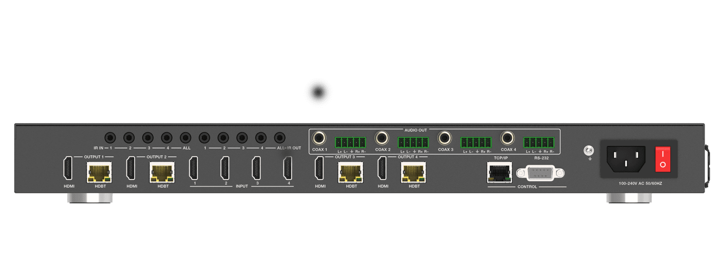 4K 60 4:4:4 4x4 HDMI Matrix Switch over CAT6 with HDR, ARC, HDMI 2.0b