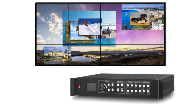 Video Wall Processor w/stitching of up to 12 Output Mapping allowing Blind Mating