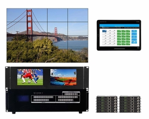 WolfPackGold 4x12 HDMI Matrix Switch with a Video Wall Function Over CAT5