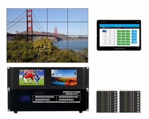 WolfPackGold 4x16 HDMI Matrix Switch with a Video Wall Function Over CAT5