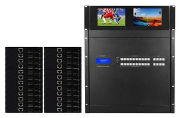 16x32 HDMI Matrix HDBaseT Switch with 32-CAT5 Receivers & Video Wall