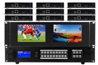 WolfPackPro 4K HDMI Matrix Switcher in 9x9 Chassis w/Dual Monitors & HDBaseT CAT5 Extenders