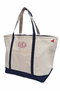 Extra Large Canvas Boat Tote | Personalized - Navy