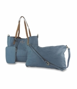 Faux Leather Tote and Cross Body Bag   2 Piece Set