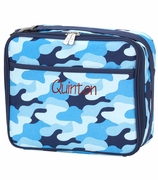 Insulated Blue Camo Lunch Bag