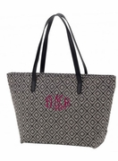 Monogram Diamond Pattern Tote Bag | Embroidered