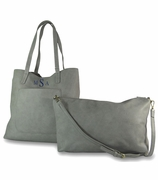 Monogram Faux Leather Tote - 2 Piece Set - 3 colors