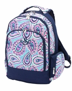 Monogrammed Backpack - Navy Paisley