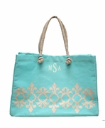 Monogrammed  Damask Travel Tote