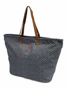 Monogrammed Travel Tote - Gray Pindot