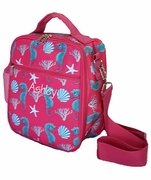 Personalized Cooler Lunch Tote Bag   Seahorse and Shells