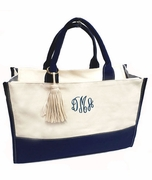 Personalized Custom Tote Bag  - Navy Natural Canvas