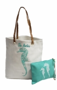 Personalized Girls Beach Tote with Accessory Pouch