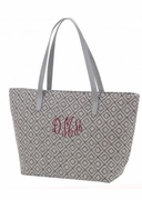 Personalized Grey Diamond Tote Bag | Embroidered
