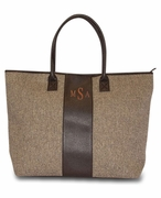 Personalized Herringbone Tote Bag