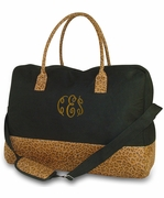 Personalized Leopard Duffle Tote Bag