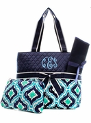 Personalized Quilted Diaper Bag - Ikat
