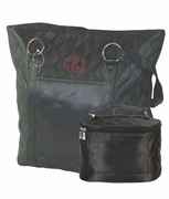 Quilted Black Cotton Tote