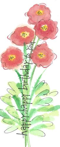 Poppies Birthday Bookmark