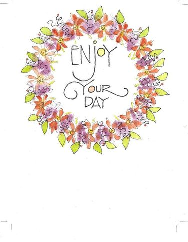 Enjoy your Day Wreath Greeting Card, set of 6 blank notes