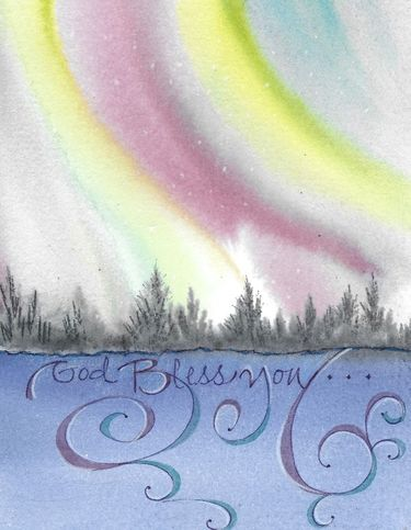 Northern Lights Blessing Greeting Card, blank inside