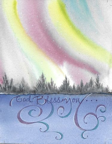 Northern Lights Blessing Greeting Card, set of 6 blank notes