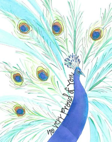 Proud Peacock Greeting Card, message inside