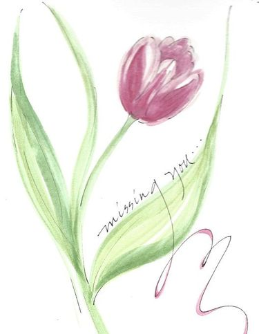 Missing You Tulip Greeting Card, message inside