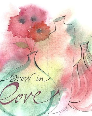 Grow in Love Wedding Greeting Card, message inside