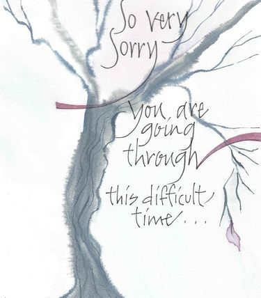 Difficult Times Tree Greeting Card, message inside