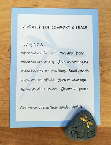 Comfort & Peace Prayer Card with hand painted Lake Superior stone