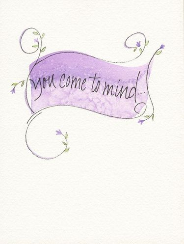 You Come to Mind Banner Greeting Card, blank inside