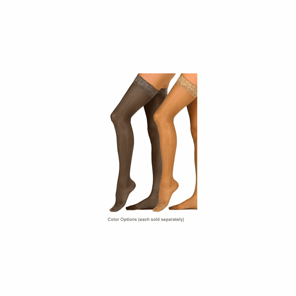 Activa Women's Ultra-Sheer Lace Top Thigh Highs 9-12 mmHg