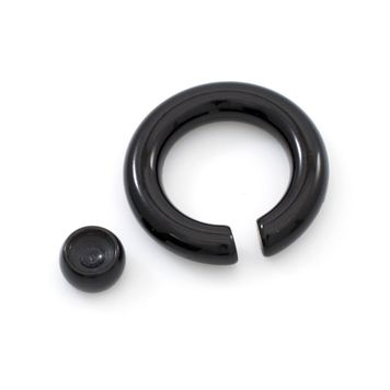 Pair of Black Acrylic Captive Bead Rings 4ga 5/8