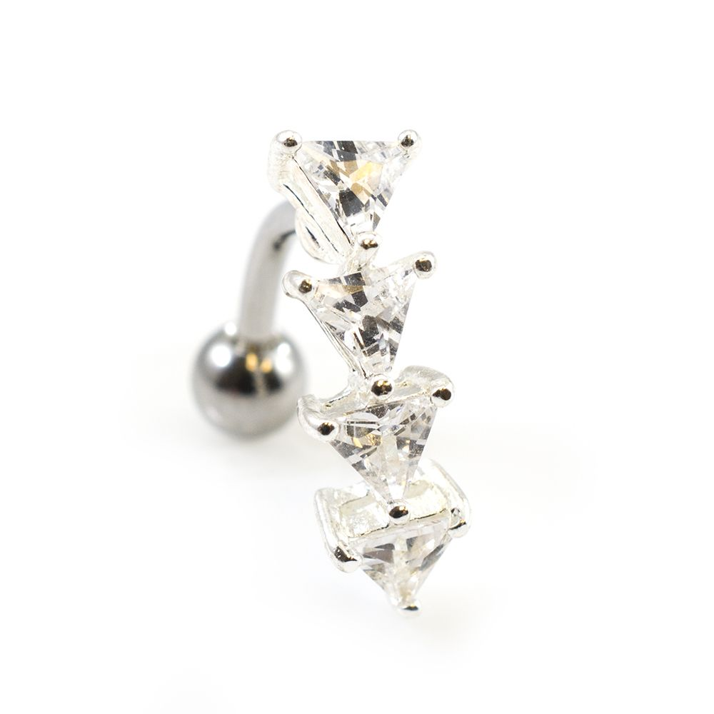 Reverse Belly Button Ring With Prong Setting Triangle Cubic Zirconia