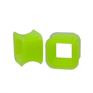Pair of Green Square Design Silicone Tunnels 7/16- 11mm