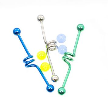 Pack of 3 Swirl Design Blue Steel and Green Surgical Steel Industrial Barbells with Extra Balls 14ga