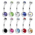 "10 Belly rings Double jeweled 14G 7/16"" 11mm"