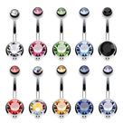 10PC Belly Button Ring Double Multicolor CZ Stainless Steel 14G Navel Body Piercing Jewelry