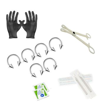12-Piece Piercing Kit - Includes (6) 16g Horse shoe with spikes, (2) Needles, (1) Forceps, (2) Alcohol Wipes and a Pair of Gloves