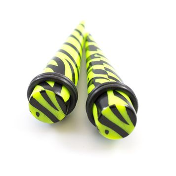 12-Piece Stretching Tapers Kit Zebra Green Acrylic Pattern 6g - 7/16in