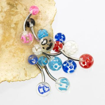 Pack of 8 Stars and Heart Design Acrylic Belly Button Rings 14ga