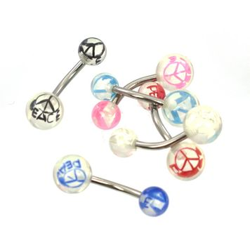 Pack of 6 Acrylic Peace Designed Belly Button Rings - No Duplicates 14ga Surgical Steel