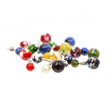Pack of 12 Glass Marble Designed Belly Button Rings - Randomly Picked  14ga Surgical Steel