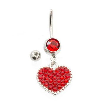 Pack of 2 Belly Button Rings- Multiple CZ Heart Design & Double CZ 14ga