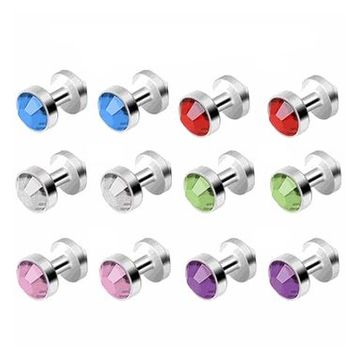 12pc Titanium Skin Diver Colored CZ Gems